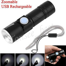 3000LM USB Rechargeable LED Flashlight Adjustable Zoom Torch Light Portable