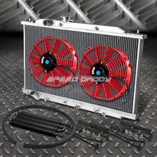 """2-ROW ALUMINUM RADIATOR+2X 10""""FAN RED+BLACK OIL COOLER FOR 03-07 ACCORD CL7 V6"""