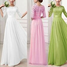 Women Chiffon Half Sleeve Lace Long Dress For Party Cocktail Evening Prom S-XXL