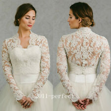 New Sheer Lace White Ivory Wedding Jacket Bridal Wrap Bolero High Quality Custom