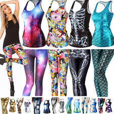 Womens 3D Printed Gothic Punk Vest Tank Top Stretch Skinny Leggings Bottoms Pant