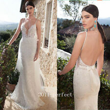 Shiny Rhinestone Mermaid Wedding Dresses Lace Spaghetti Backless Bridal Gowns
