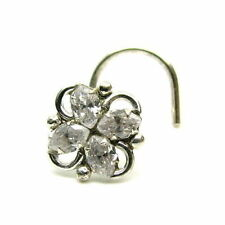 Indian CorkScrew Nose Stud White CZ 925 Sterling Silver Nose ring L Bend Pin