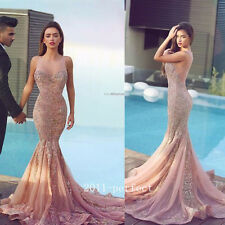Shiny Crystal Long Evening Formal Dress Prom Party Lace Applique Mermaid Gown