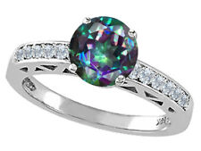 7mm Mystic Rainbow Topaz Solitaire Ring