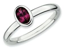 Stackable Expressions Silver Oval Simulated Rhodolite Garnet Stackable Ring