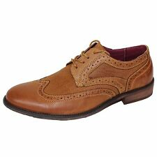 FRONT SHOES MADDOX MENS TAN LEATHER BROGUES
