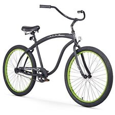 "Beach Cruiser Bicycle Men's Bike Black/Green Rims  3-Speed Wheels Seat 26"" NEW"