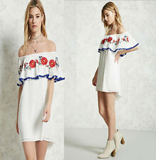 Womens Embroidered Party Mini Dress Ladies Summer Off Shoulder Sexy Dresses