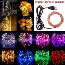 USB 10M 100LED LED Indoor Outdoor Christmas Party Decor Copper Wire String Light