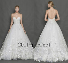 New Lace Butterfly Appliques Wedding Dress Bridal Gown Custom Size 2 4 6 8 10 12