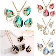 Lovely Wedding Crystal Peacock Necklace Ring Earrings Set Womens Lady Jewellery