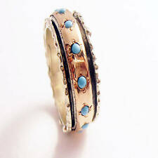 Silver Meditation Spinner Ring w/14k Rose Gold Spinner Band and Turquoise Stones