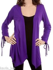 Purple Ruched L/S Shrug/CoverUp Drape Scarf Tunic Cardigan S