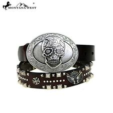 NEW MONTANA WEST LEATHER SUGAR SKULL WESTERN GOTHIC BELT COFFEE COLORED