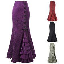 Victorian Gothic Steampunk Lace up Long Mermaid Fishtail Steampunk Skirt Dress
