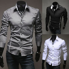 S-3XL Mens Casual Dress Slim Fit T-Shirts Casual Long Sleeve Blouse Business New