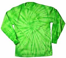 Lime Spider Tie Dye T-Shirts Kids Youth XS - L Long Sleeve 100% Cotton