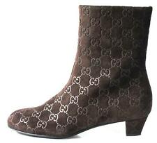 new GUCCI dark brown GG LOGO guccissima suede ankle BOOTS - super comfortable
