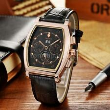 TEVISE Mens Automatic Mechanical Wrist Watch Moon Phase Genuine Leather+Box D3K6