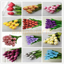PU Tulip Artificial Flower For Wedding Party Home Decor Real Touch Flowers