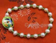 SALE 5-6mm White Round Pearl with Green crystal & Cloisonne 7.5'' Bracelet-br389