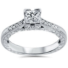 1ct Princess Cut Vintage Diamond Engagement Ring Antique Accent 14K White Gold