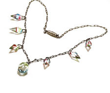 Antique Crystal Necklace Dangles Faceted Clear Watermelon Rivoli Links Art Deco