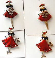 Red Hat Lady with Flower Bouquet / 2 Styles each in Gold or Silver-tone