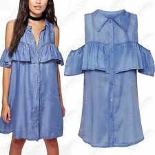 NEW WOMENS DENIM SHIRT LADIES COLD SHOULDER FRILL BLUE JEAN TOP DRESS 8 10 12 14