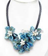 SALE Baroque Blue Shell Flower & Pearl pendant Black Rope 18'' Necklace-nec6334
