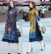 Women's Traditional Chinese  Long Cheongsam Evening Gown Qipao Dress Casual Y@