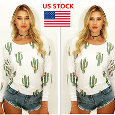 US Women's Cactus Printed Long Sleeve Casual Shirts Tops Blouse Shirt Round neck