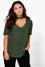 Boohoo Womens Plus Size Melody Slinky Open Neck Top
