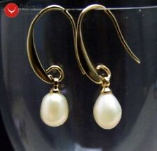 SALE 7-9mm White Drop Natural Freshwater Pearl & Gold-color Hook Earring-ear557