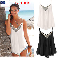 US Womens Sling Chiffon Sequin V Neck Vest Ladies Summer Casual Blouse Crop Tops