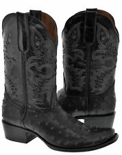 Mens Black Square Toe Ostrich Skin Print Western Leather Cowboy Boots