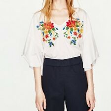 New Womens Yellow/White Floral Embroidered Trumpet Sleeves Blouse Tops Shirt
