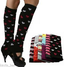 Stars/Stripes or Hearts Dance/Exercise Knit Leg Warmers Boot Cuff Socks
