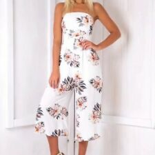 New Womens Ladies Floral Print Sexy Tube Top Cropped Pants Jumpsuit Playsuit