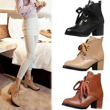 Womens Shoes Rounded toe Lace Up Block Heeled Cute Go to school Boots sz 2