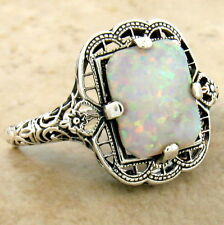 VICTORIAN 925 STERLING SILVER ANTIQUE STYLE LAB OPAL FILIGREE RING,         #994