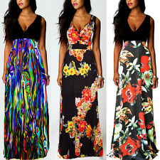 Womens Floral Holiday Long Boho Dress Ladies Summer Maxi Dress Size 12 14 16 24
