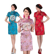 AT Chinese Traditional Brocade Qipao Women Summer Cheongsam Party Evening Dress