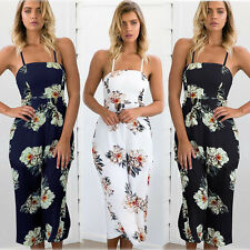 Women Sling Floral Printed Chiffon Jumpsuit Loose Casual Wide Leg Pants Rompers