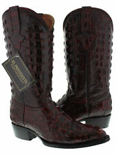 Mens Black Cherry Red Full Alligator Exotic Print Western Cowboy Rodeo Boots