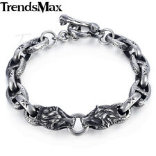 10mm Mens Chain 316L Stainless Steel Silver Bracelet Wolf Head Mariner Oval Link