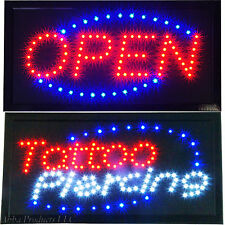 Bright Tattoo Piercing Studio Parlor Shop & Open Business Motion LED Sign neon