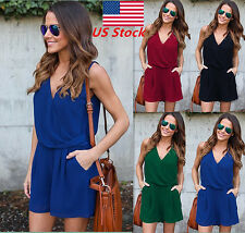 Women Lady Deep V-neck Pocket Clubwear Sleeveless Chiffon Casual Jumpsuit Romper
