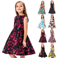 6~12 Year Girl Child Vintage Floral Evening Party Retro Style Swing Tea Dress